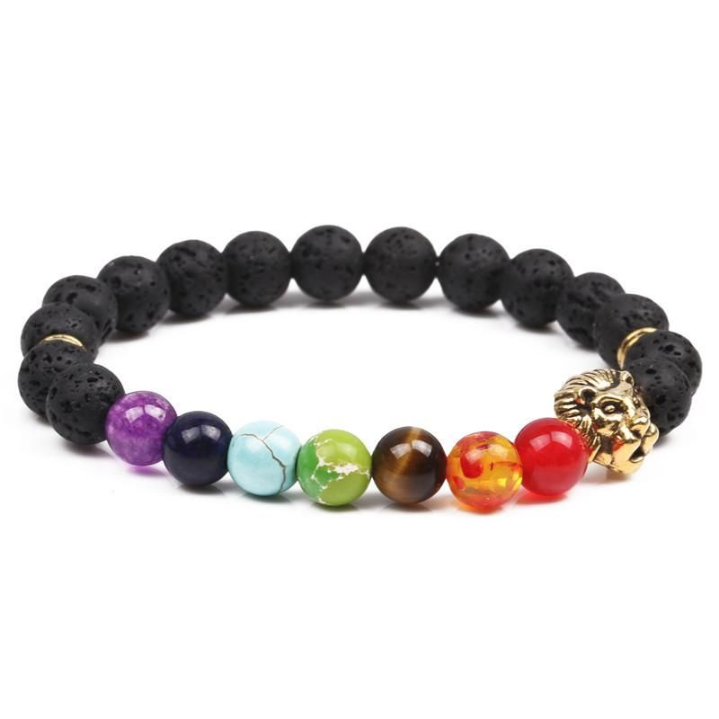 Natural stone colorful chakra energy yoga bracelet 8mm volcanic stone lion head bracelet NHYL173503