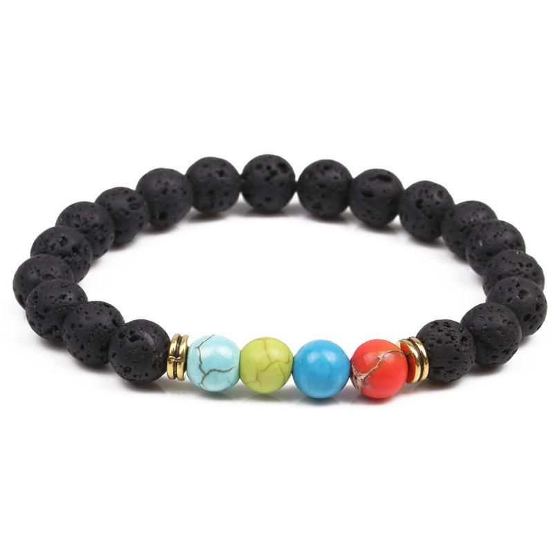Hand string natural stone 8mm volcanic stone color turquoise bracelet Buddhist head beads energy volcanic stone beads NHYL173506