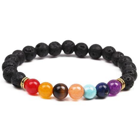 Bracelet de yoga d'énergie de chakra coloré en pierre naturelle bracelet d'agate coloré en pierre volcanique de 8 mm NHYL173509's discount tags