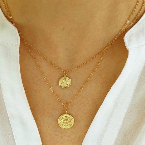 Nueva moneda doble collar colgante sello cabeza cadena de clavícula NHPJ173184's discount tags