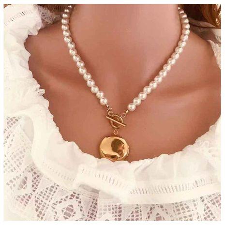 Nuevo collar retro simple chapado en oro de mujer collar de perlas de imitación joyería NHCT173199's discount tags