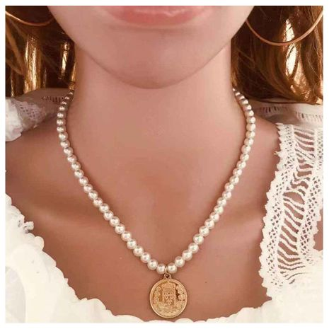 Cadena de clavícula corta hecha a mano con perlas de imitación simple NHCT173221's discount tags