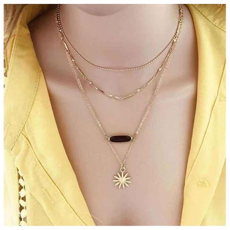 Personalized accessories, sun flower pendant, multi-layer necklace female NHCT173228's discount tags