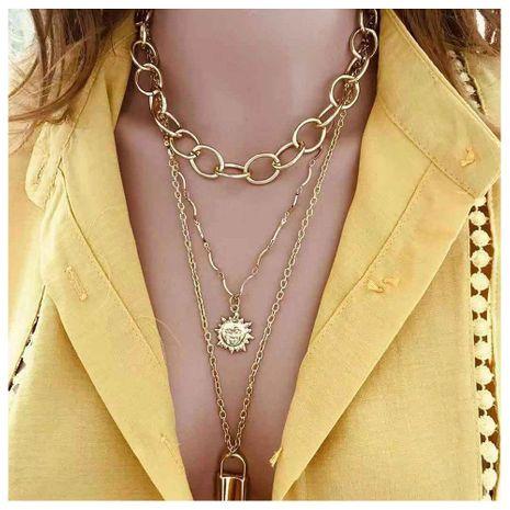 Temperamento Sun Flower Smiley Lock Colgante Cadena exagerada Collar de múltiples capas Mujer NHCT173231's discount tags