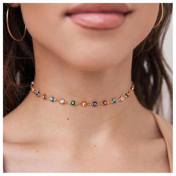 Personality devil's eye handmade necklace female NHCT173229