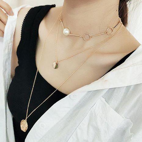 Colgante redondo de metal de moda con combinación de elementos múltiples y collar de perlas NHNZ173371's discount tags