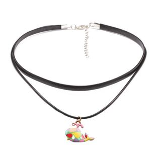 Dolphin short necklace chain collar black leather rope multi-layer color fish pendant neck chain clavicle chain NHYL173426's discount tags