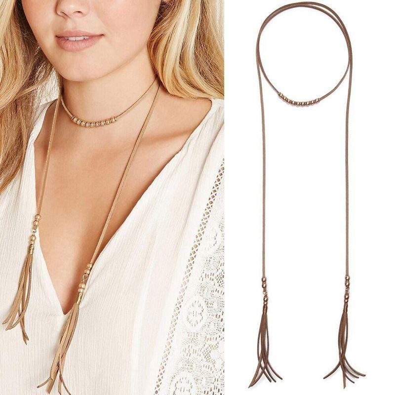 Long velvet fringed sweater chain female pendant necklace double decorative chain NHBQ173341