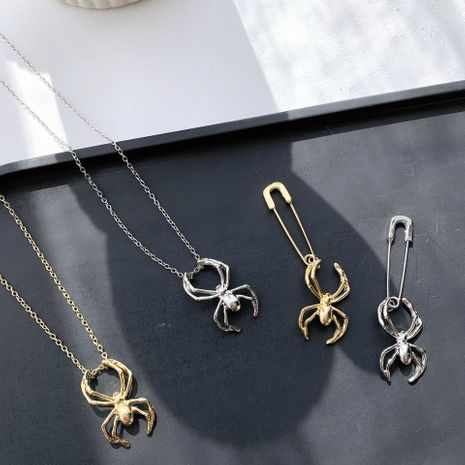 El juego de collar de aretes de araña plateada dorada puede hacer un broche delicado collar NHYQ173288's discount tags