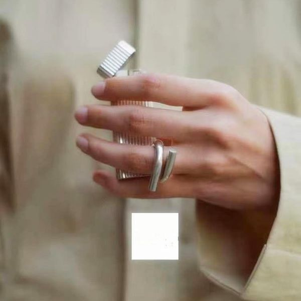 Minimalist wrong side ring female smooth face personality geometric parallel joint ring ring NHYQ173294