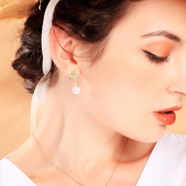 Earrings simple bee earrings female creative asymmetric pearl earrings s925 sterling silver NHQD173499