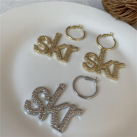 Exaggerated fashion wild letters bumps can wear two earrings NHYQ173289's discount tags