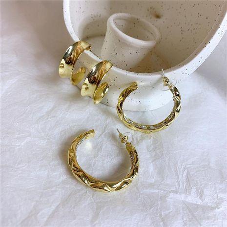 Metal micro-set diamond circle curved temperament earrings NHYQ173297's discount tags