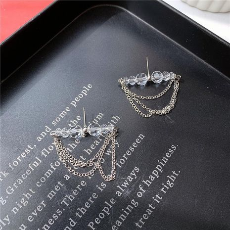 Stud earrings crystal ball multi-layer chain tassel style temperament wild tide cool earrings NHYQ173314's discount tags