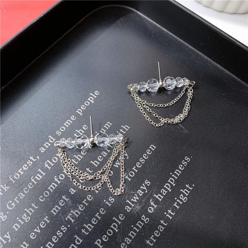 Stud earrings crystal ball multilayer chain tassel style temperament wild tide cool earrings NHYQ173314