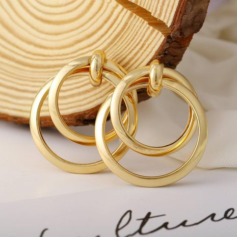 New gold metal earrings vintage double circle metal earrings NHPJ173169's discount tags