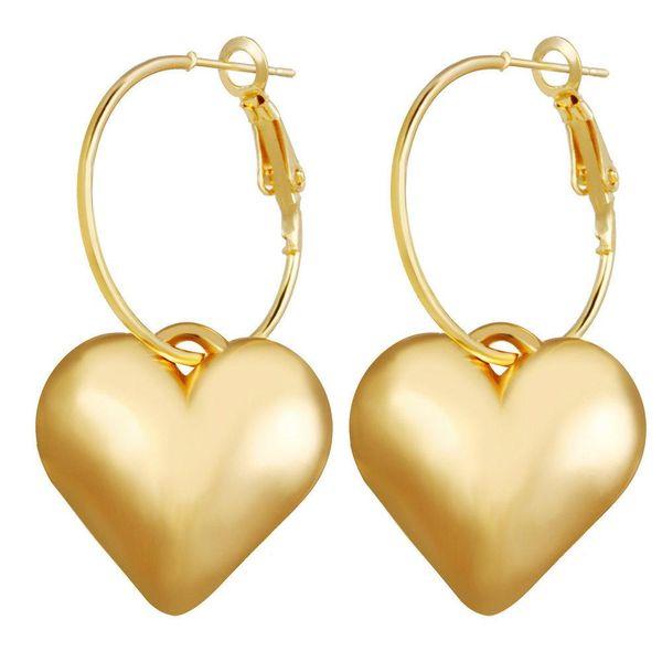 New love earrings gold metal heart-shaped earrings trend ear hook NHPJ173196