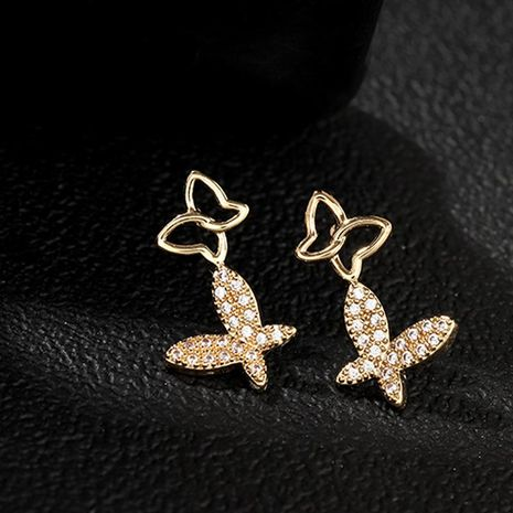 Earrings fashion exquisite hollow butterfly earrings set with zircon high quality earrings jewelry NHNZ173369's discount tags