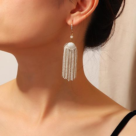 Earrings white beads tassel earrings with long ear hooks NHNZ173370's discount tags