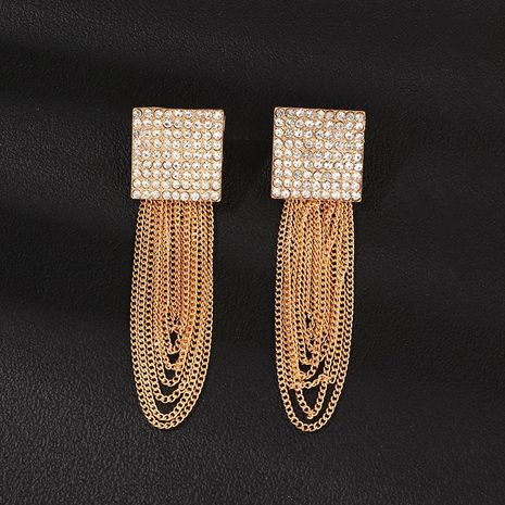 Jewelry full diamond square chain tassel earrings long metal earrings NHNZ173373's discount tags