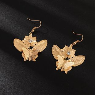 Earrings autumn and winter new butterfly earrings copper piece hollow diamond ear hook jewelry NHNZ173397's discount tags