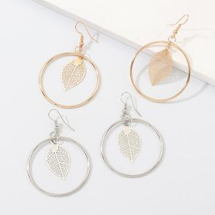 New jewelry creative fashion round openwork leaves earrings earrings female NHNZ173410's discount tags