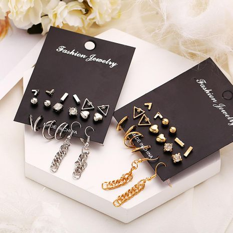 New geometric set earrings 9 pairs of creative retro simple heart-shaped inlaid rhinestone earrings NHPJ173171's discount tags
