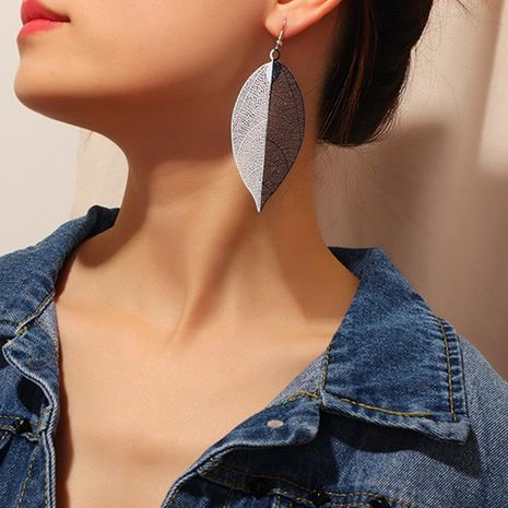 Popular earrings creative personality leaf earrings female simulation leaf texture earrings NHNZ173400's discount tags