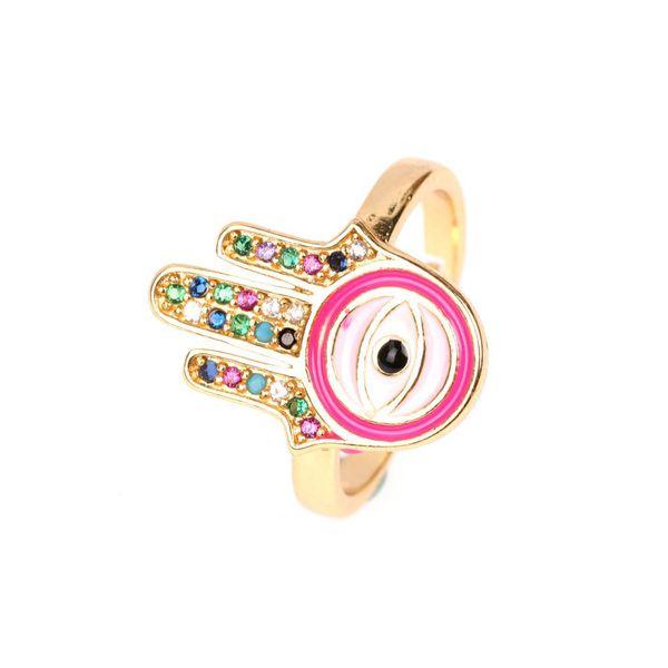 Colorful Diamond Open Ring Fatima Palm Eye Ring NHPY173271