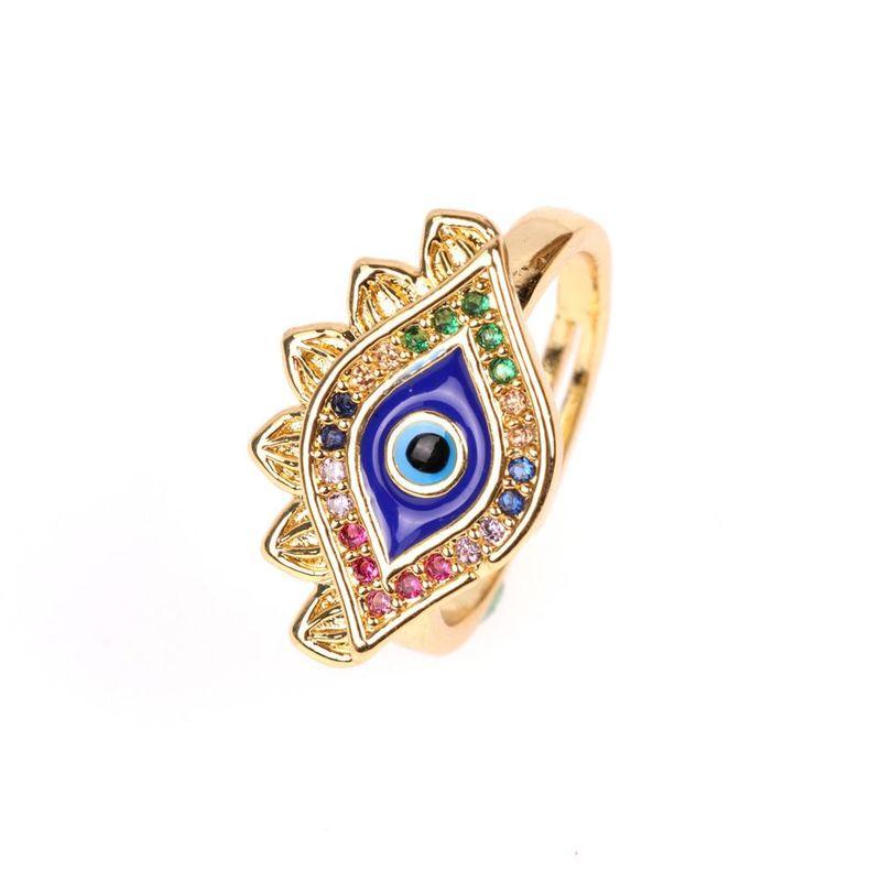 Micro Inlay Diamond Ring Personality Creative Devil's Eye Open Ring NHPY173273
