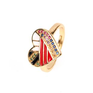 Ring ladies copper plated micro-inlaid diamonds love heart open ring NHPY173274's discount tags