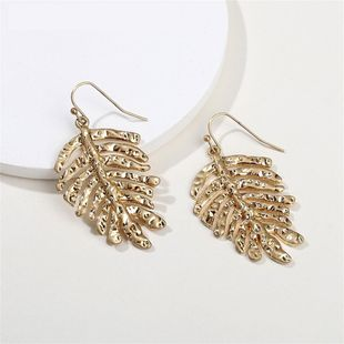 Alloy Leaf Monstera Simple Exaggerated Female Earrings NHLU173446's discount tags