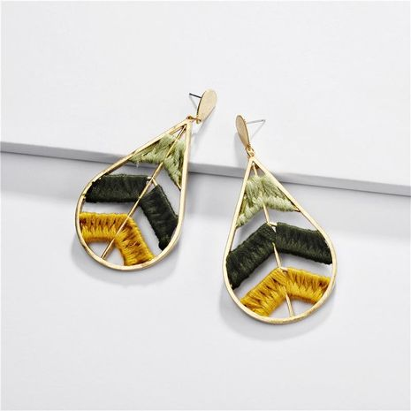 Jewelry earrings alloy color cotton woven hollow leaves female earrings NHLU173456's discount tags