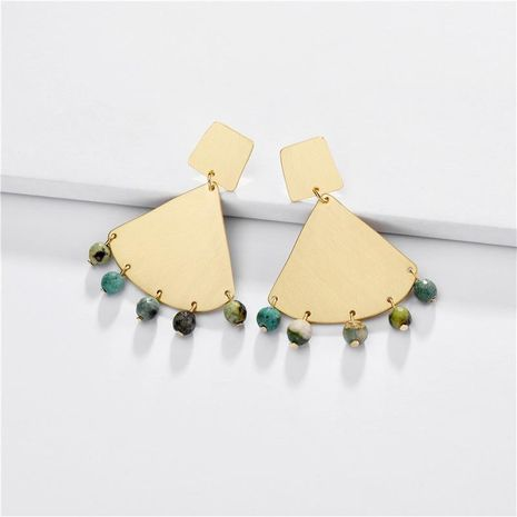Jewelry earrings natural stone beads geometric fan pendant female earrings new NHLU173460's discount tags