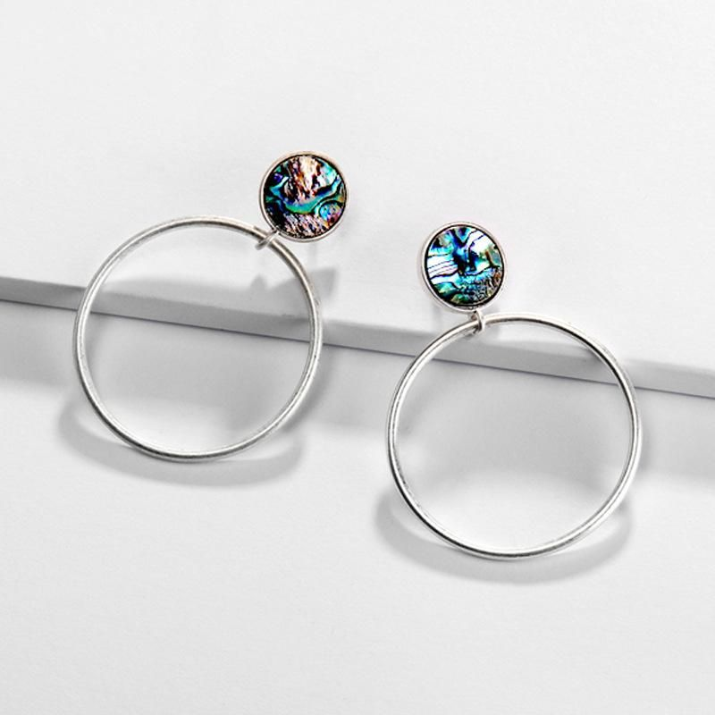 Earrings jewelry big ear ring natural pearl round shell round earrings new NHLU173466