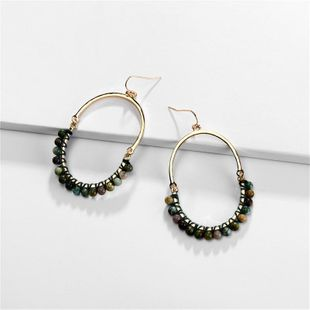 Earrings jewelry natural stone beads weaving female earrings new NHLU173464's discount tags