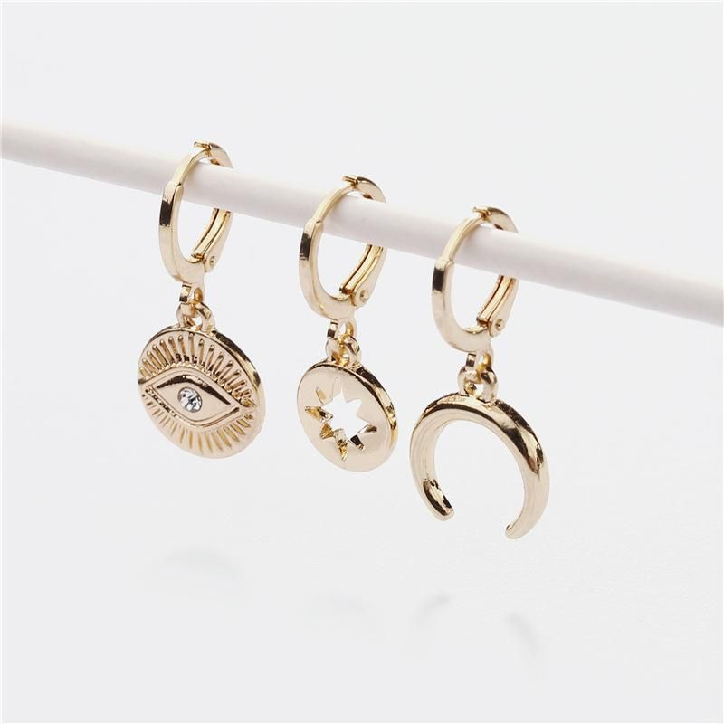 Earrings jewelry copper ear hooks can open the hollow five-star eyes moon female earrings three NHLU173472