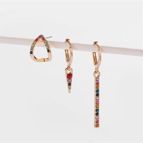 Earrings jewelry alloy copper ear hooks can open colored gemstone diamond female earrings earrings NHLU173471's discount tags