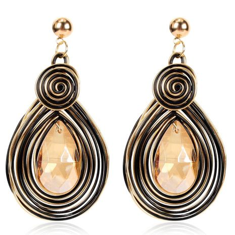 Handmade large crystal pendant earrings female bohemian fashion gold temperament earrings earrings NHCT173198's discount tags