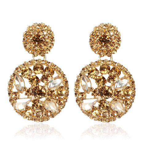 Exaggerated round alloy diamond rhinestone earrings female personality minimalist earrings NHCT173201's discount tags