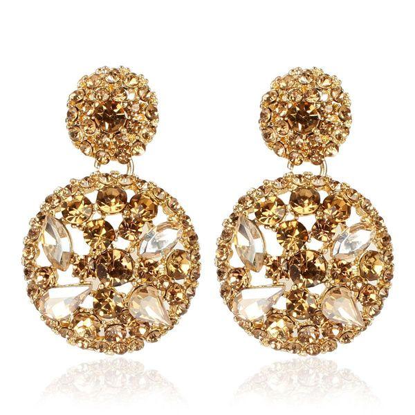 Exaggerated round alloy diamond rhinestone earrings female personality minimalist earrings NHCT173201