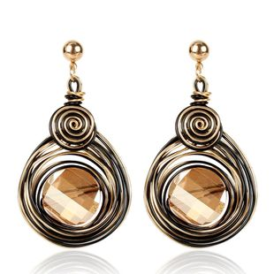 Big Crystal Earrings Women Fashion Gold Metallic Wire Spiral Earrings Earrings NHCT173203's discount tags