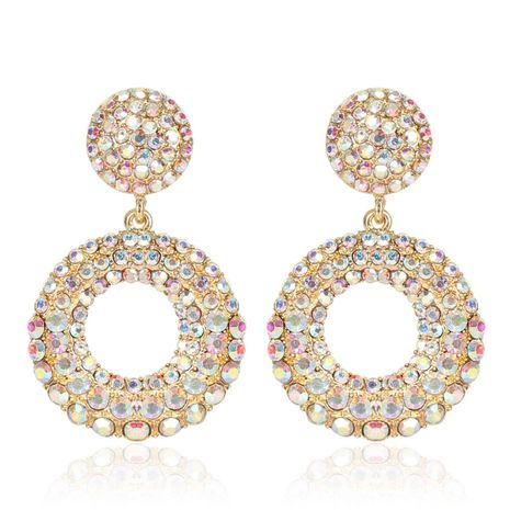 Crystal Metal Pendant Earrings Bohemian AB Earrings Geometric Round Earrings NHCT173213's discount tags