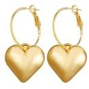 New love earrings gold metal heartshaped earrings trend ear hook NHPJ173196