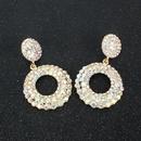Crystal Metal Pendant Earrings Bohemian AB Earrings Geometric Round Earrings NHCT173213
