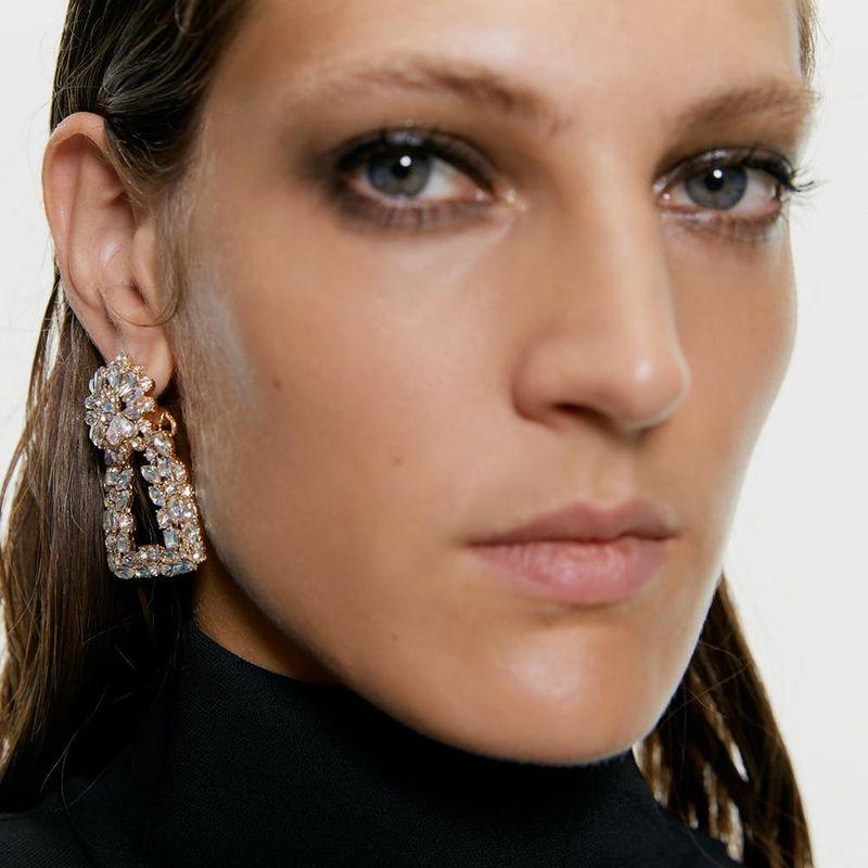 Womens Geometric Alloy  Imitation Diamond Earrings NHMD155919