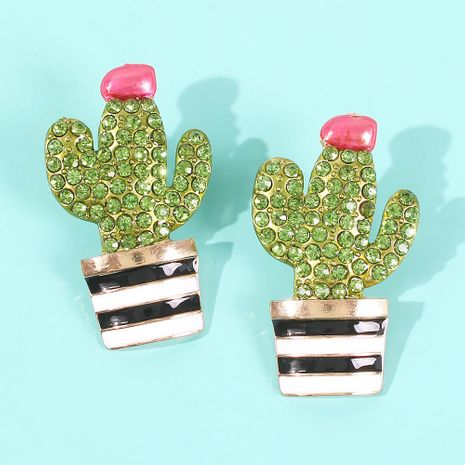 Fashion color glazed cactus artificial gemstone earrings NHMD155920's discount tags