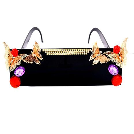 Vintage rose flower rhinestone sunglasses NHNT155921's discount tags