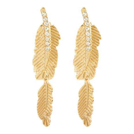 Simple alloy feather artificial gemstone earrings NHMD155922's discount tags