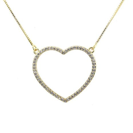 Fashion gold-plated full diamond zircon love necklace NHBP155927's discount tags